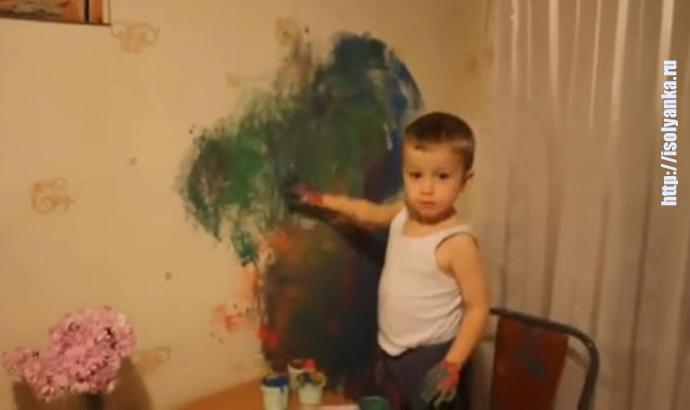 Малыш рисует... Терпению мамы позавидует любой!   1
