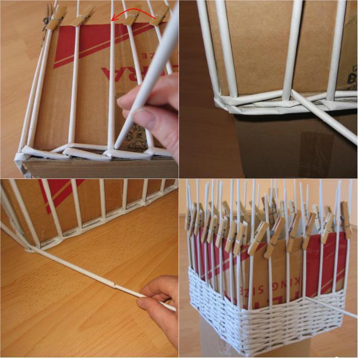 Простая плетеная корзинка своими руками 7
