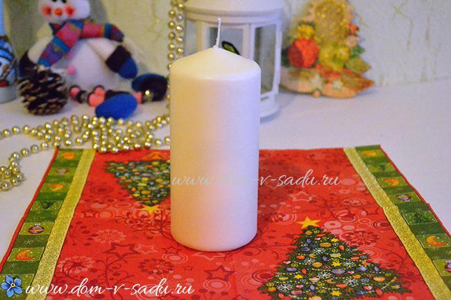 Невероятно красивый новогодний сувенир из обычной свечи и салфетки — попробуйте повторить!