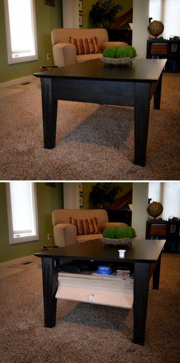 Кофейный столик с потайным ящиком где спрятаться, забавно, неожиданно, познавательно, потайное место, секрет, тайна, тайник