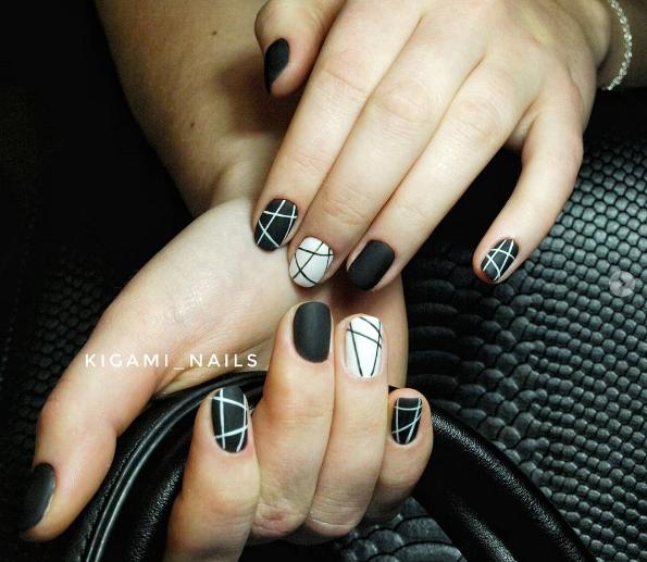 Черно-белый маникюр на короткие ногти | 3