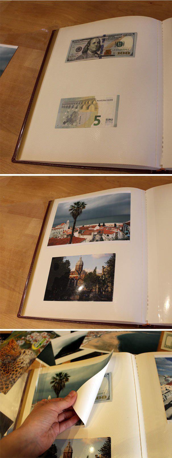 Магнитный фотоальбом - неплохой тайник для денег где спрятаться, забавно, неожиданно, познавательно, потайное место, секрет, тайна, тайник