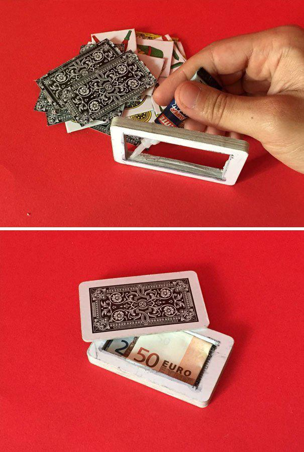 Спрячьте деньги в карточной колоде где спрятаться, забавно, неожиданно, познавательно, потайное место, секрет, тайна, тайник