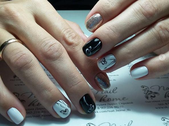 Черно-белый маникюр на короткие ногти | 4