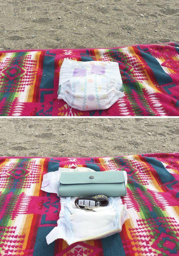 Памперс - лучший тайник для пляжа где спрятаться, забавно, неожиданно, познавательно, потайное место, секрет, тайна, тайник