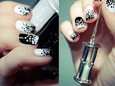 Черно-белый маникюр на короткие ногти | 7