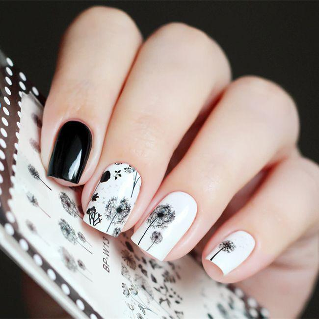 Черно-белый маникюр на короткие ногти | 8