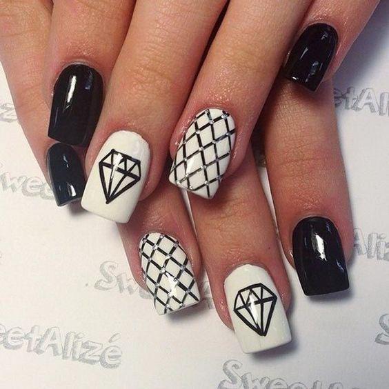 Черно-белый маникюр на короткие ногти | 9