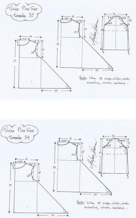 Шьем быстро и легко: выкройки туник любого размера