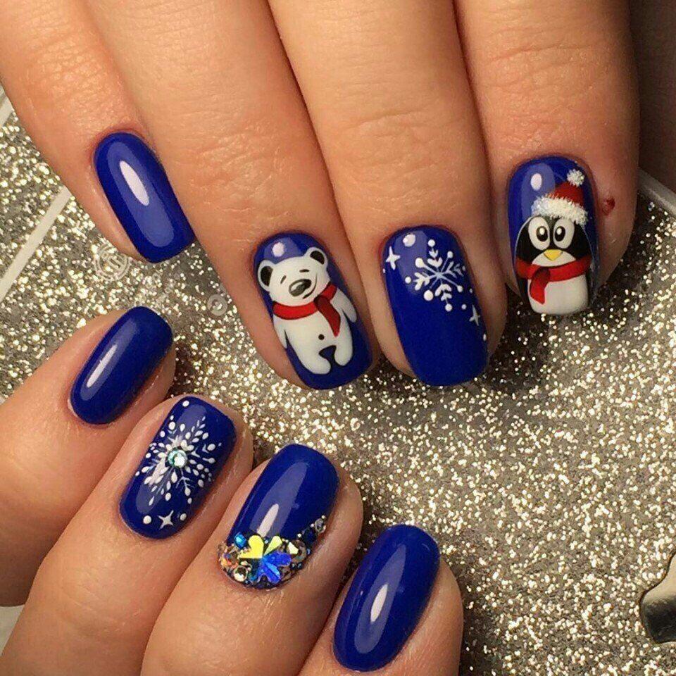 Зимний дизайн ногтей с медвежонком и пингвином» — карточка ...