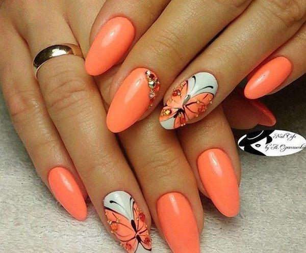 Яркие идеи маникюра в оранжевом цвете