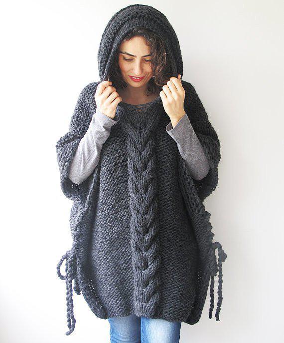 Вяжем пончо с капюшоном — универсальную и уютную одежду   3
