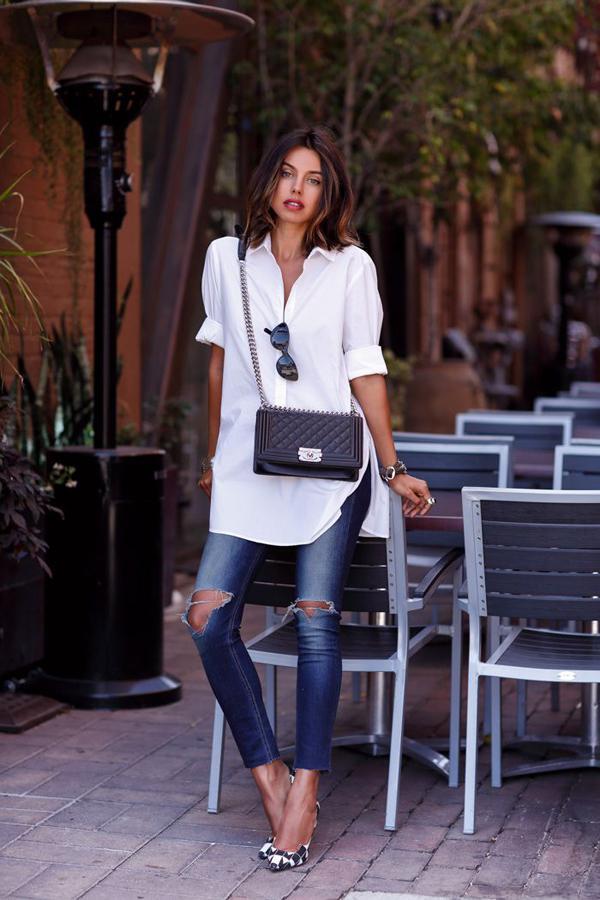 20 великолепных образов с белой блузкой | 4