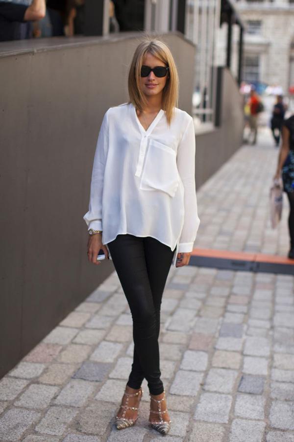 20 великолепных образов с белой блузкой | 6