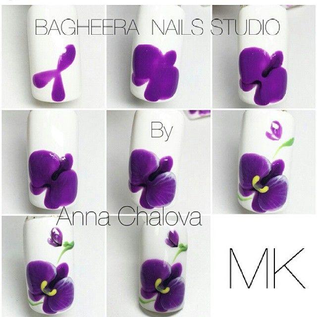 Ногти фото поэтапно цветы орхидеи