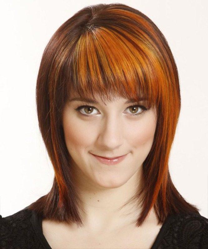 Рыжие волосы с красивой челкой