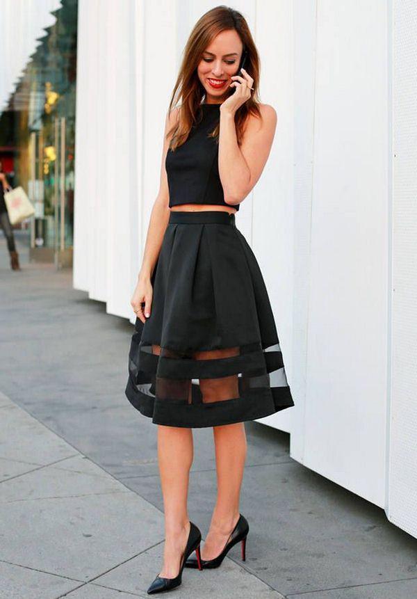 10 стильных образов с черной юбкой | 5