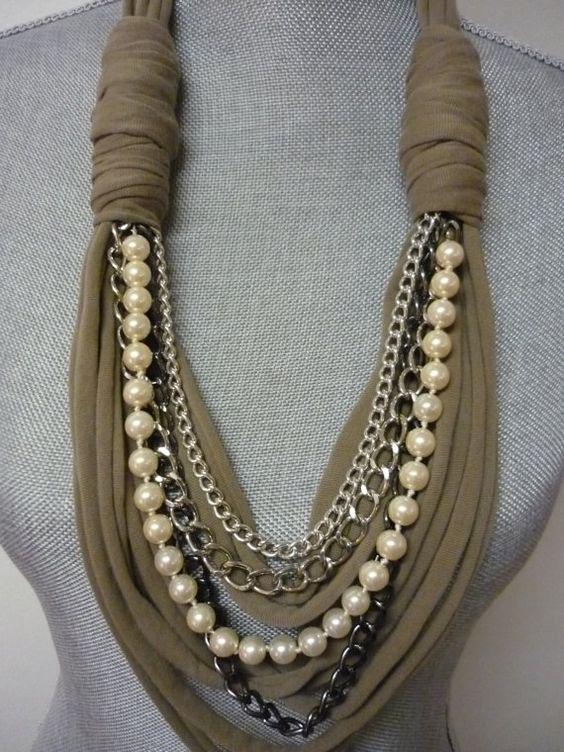 Шарфы с бижутерией для элегантных и очаровательных женщин