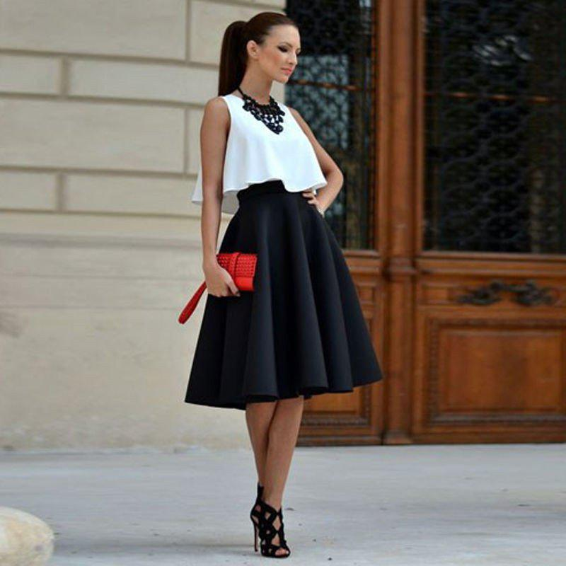 10 стильных образов с черной юбкой | 6