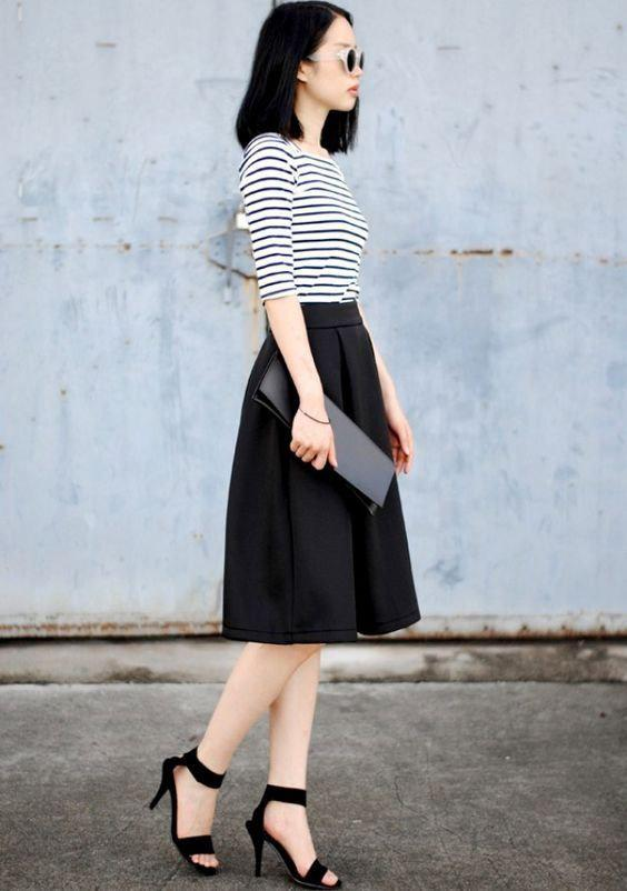 10 стильных образов с черной юбкой | 7