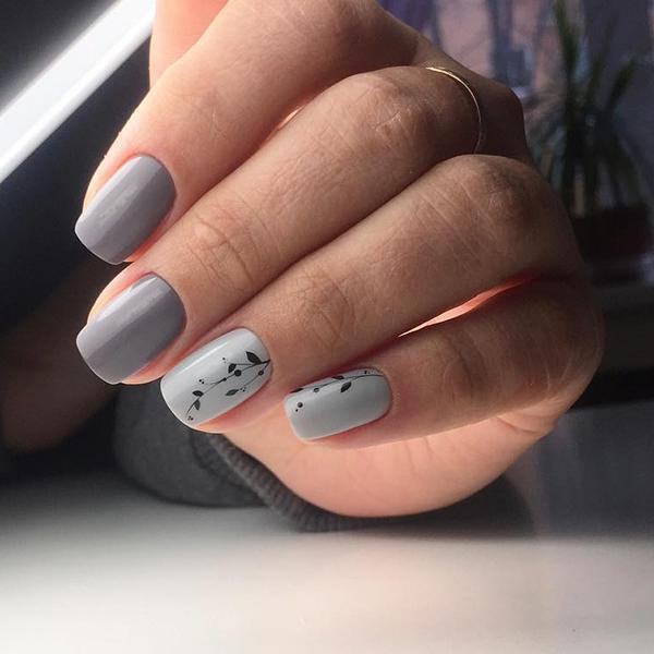 Красивый маникюр с дизайном в серых оттенках | 12