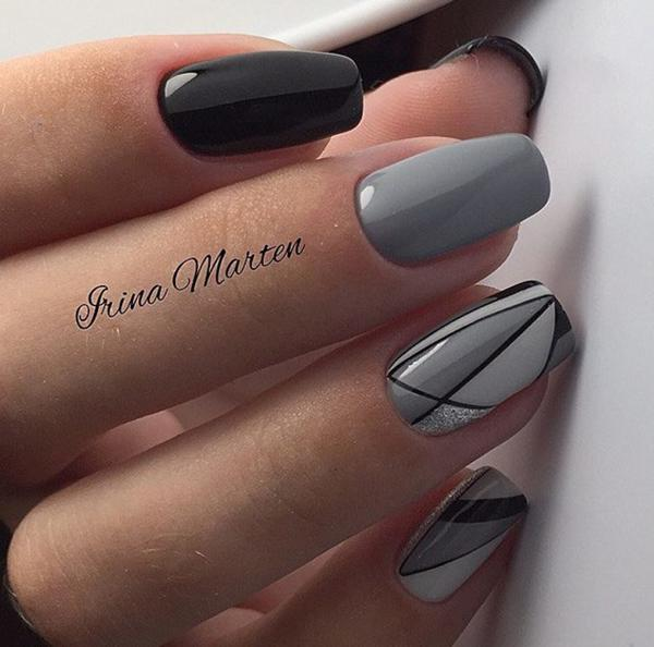 Красивый маникюр с дизайном в серых оттенках | 14