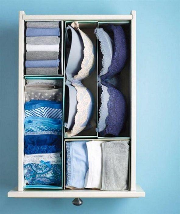Как правильно складывать вещи и белье в шкафу, чтобы они занимали меньше места   20