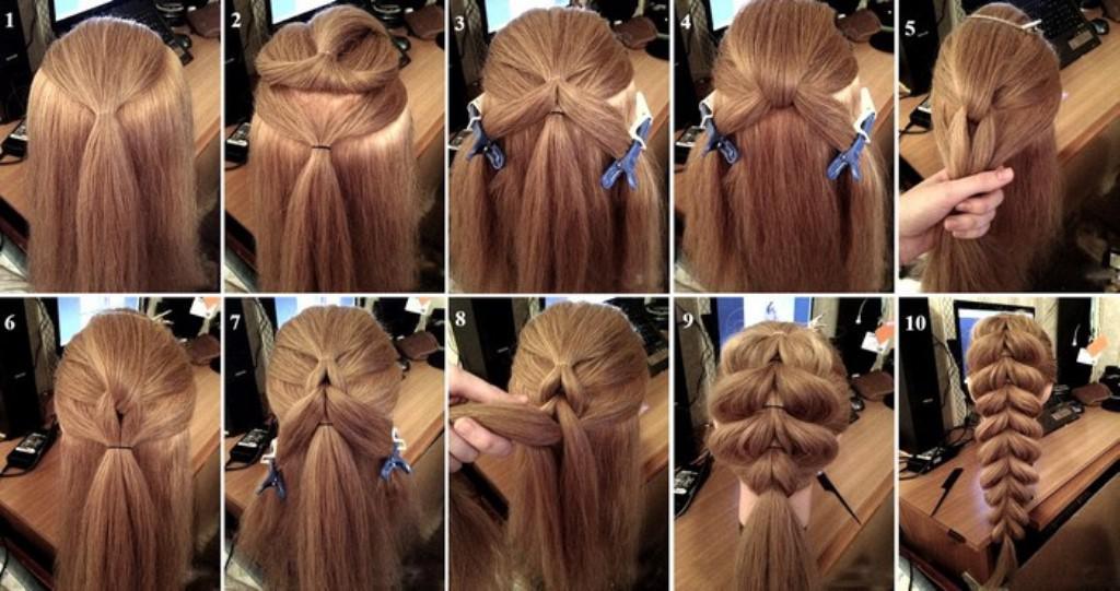 Объёмные косы на длинные волосы пошагово фото