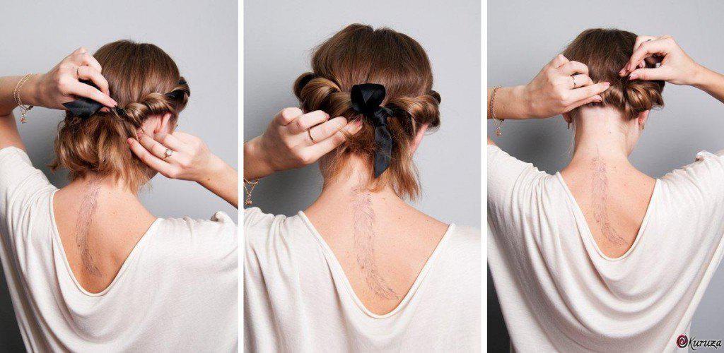 Оригинальная прическа на средние волосы своими руками 15