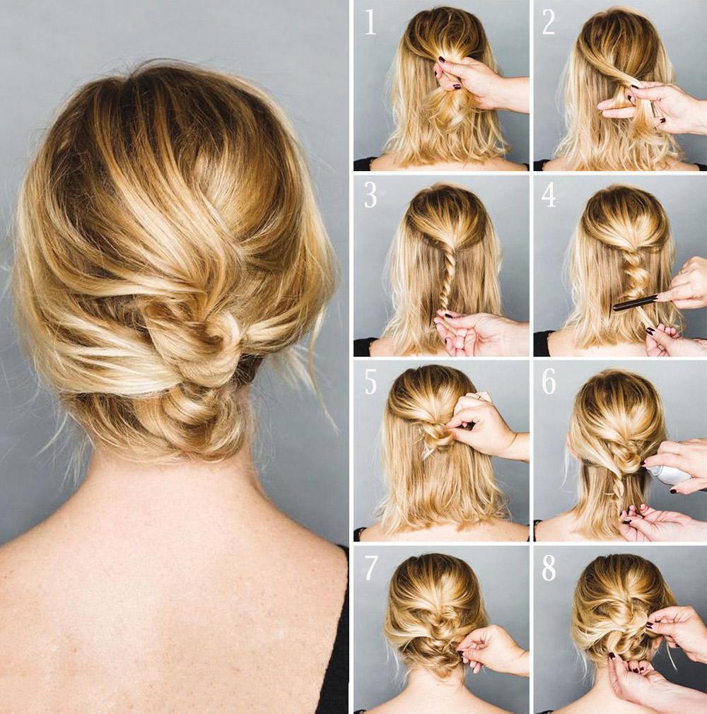 Прическа на скорую руку на волосы до плеч фото