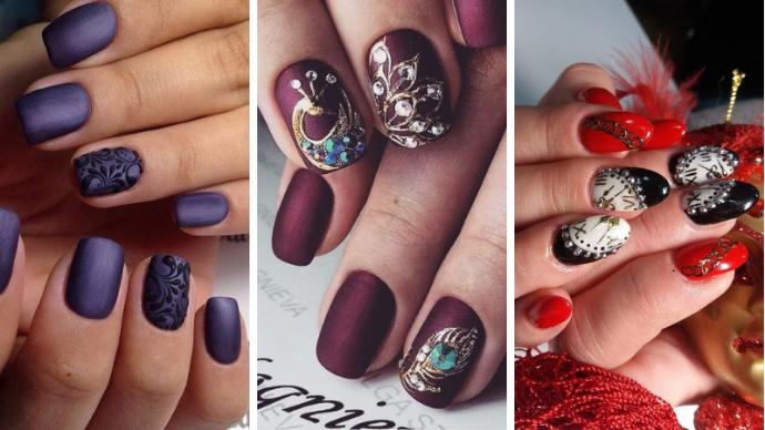 Потрясающие идеи новогоднего маникюра на короткие ногти | 169