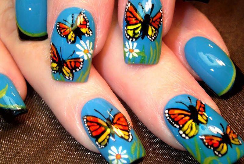 39 идей маникюра с бабочками — самые весенние идеи 14
