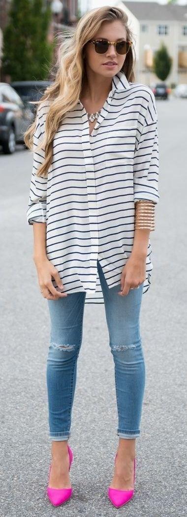 Рубашка в полоску: с чем и как носить | 16