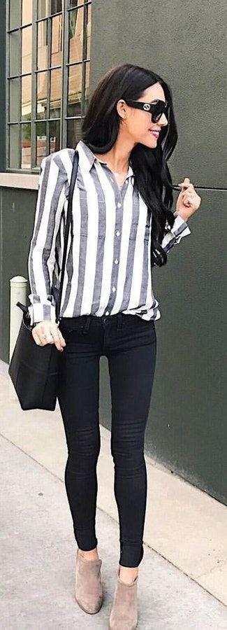 Рубашка в полоску: с чем и как носить | 17