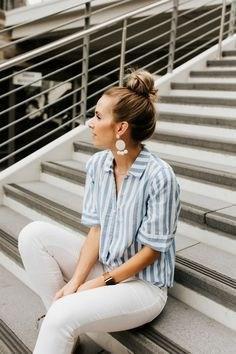 Рубашка в полоску: с чем и как носить | 18