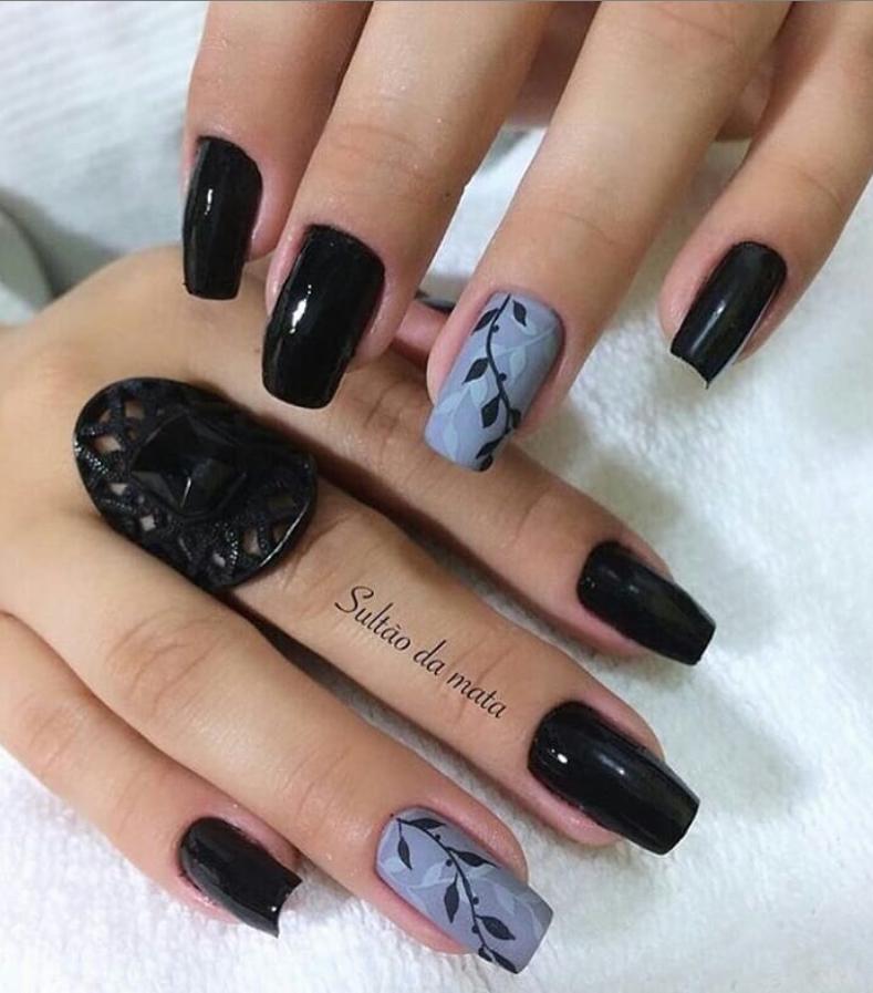 Черный маникюр на короткие ногти. 50+ элегантных идей | 19