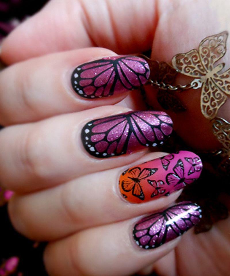 39 идей маникюра с бабочками — самые весенние идеи 31