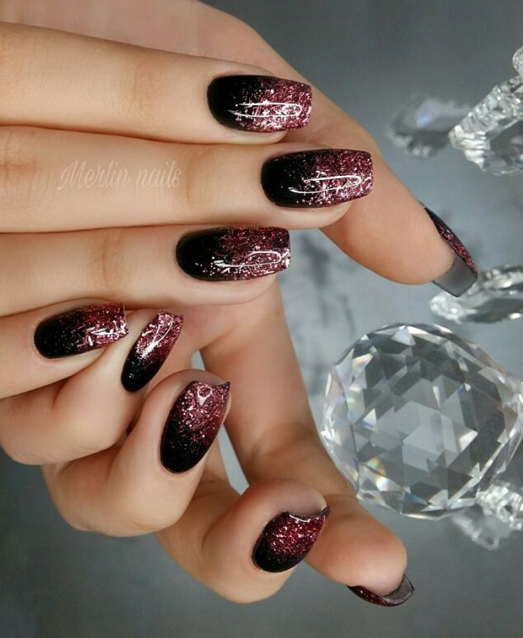 Черный маникюр на короткие ногти. 50+ элегантных идей | 7