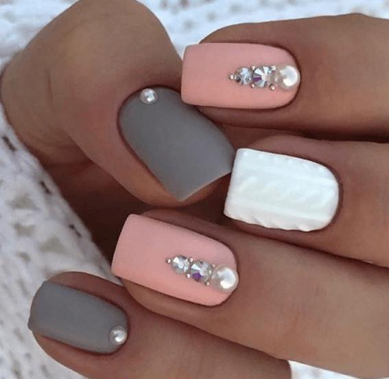 38 идей матового маникюра на короткие квадратные ногти 17