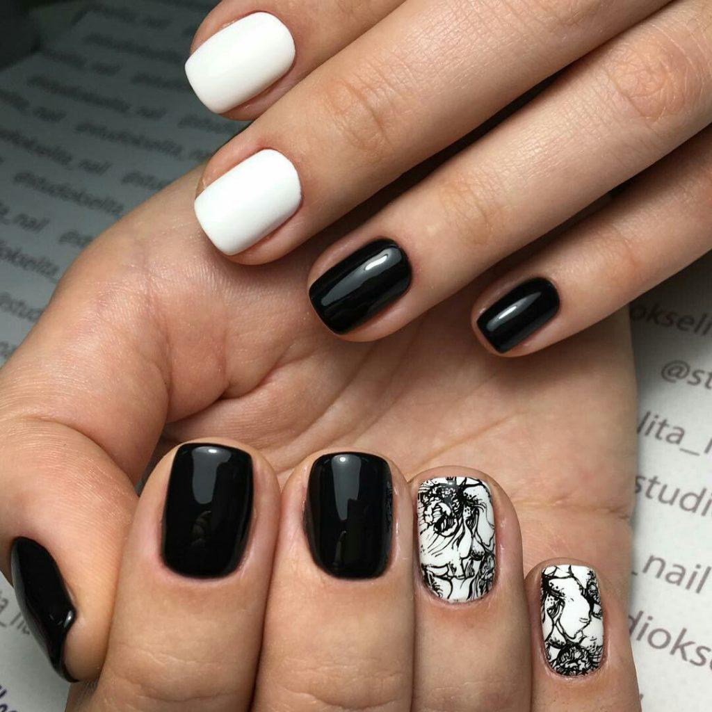 Идеи ежедневного маникюра на короткие квадратные ногти | 18
