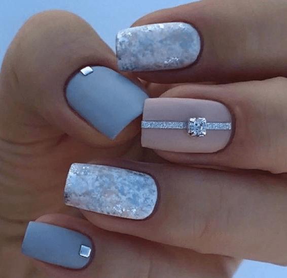 38 идей матового маникюра на короткие квадратные ногти 19