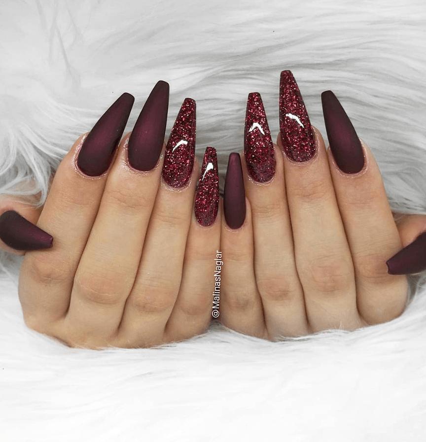 Красивые длинные бордовые ногти фото