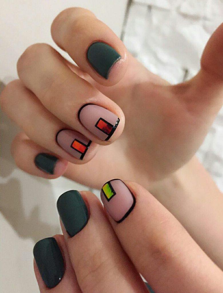 Идеи ежедневного маникюра на короткие квадратные ногти | 5
