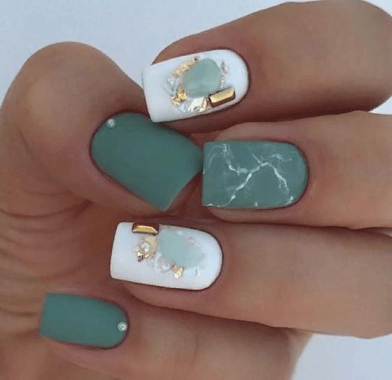38 идей матового маникюра на короткие квадратные ногти 06