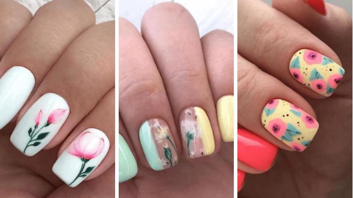 Изумительные идеи летнего маникюра на квадратные ногти
